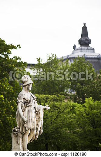 beautiful statues located on the Avenue des Champs-Elysees in Paris, France - csp11126190