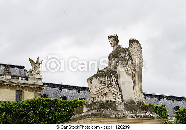 beautiful statues located on the Avenue des Champs-Elysees in Paris, France - csp11126239