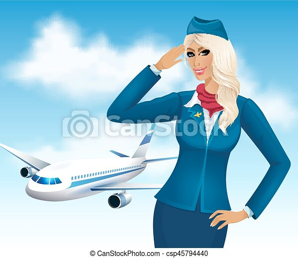 Beautiful stewardess - csp45794440