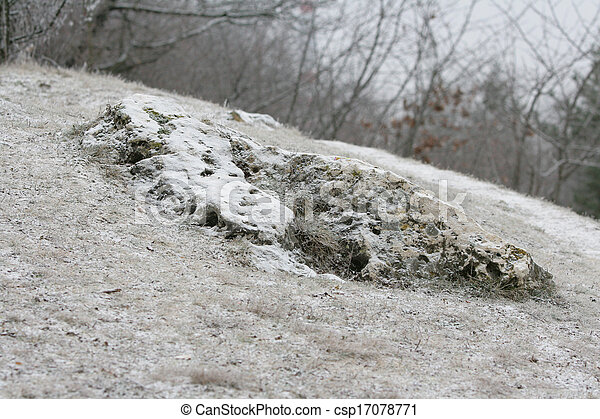 Beautiful stone under the touch of snow - csp17078771