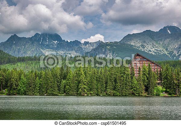 Beautiful Strbske Pleso and mountain lake in Slovakia - csp61501495