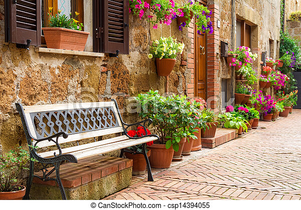 Beautiful street decorated with flowers in Italy - csp14394055