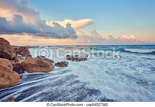 beautiful strong waves in the Mediterranean Sea - csp54527362