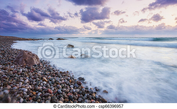 beautiful strong waves in the Mediterranean Sea - csp66396957