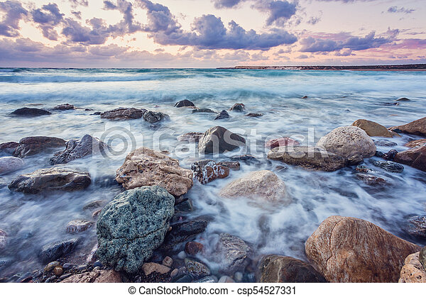 beautiful strong waves in the Mediterranean Sea - csp54527331
