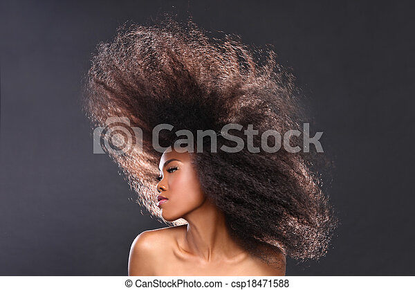 Beautiful Stunning Portrait of an African American Black Woman With Big Hair - csp18471588