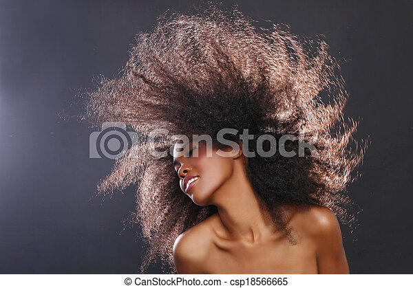 Beautiful Stunning Portrait of an African American Black Woman With Big Hair - csp18566665