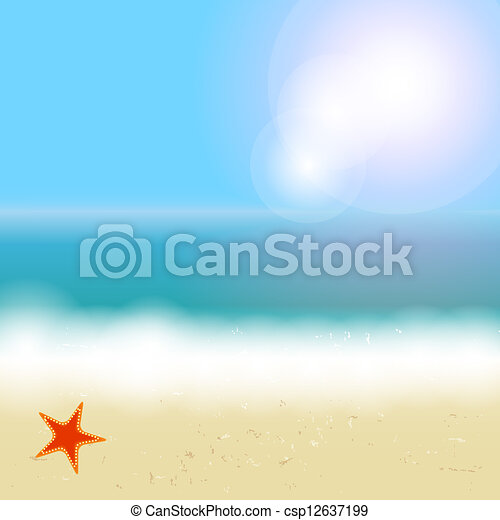 Beautiful summer background with beach, sea, sun and palm tree Vector illustration - csp12637199