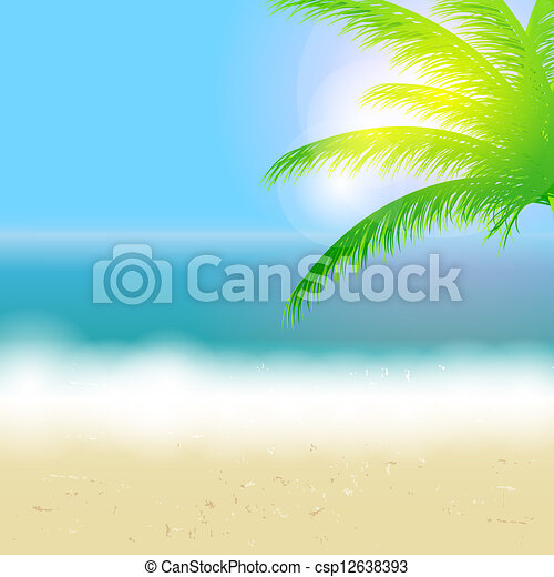 Beautiful summer background with beach, sea, sun and palm tree Vector illustration - csp12638393