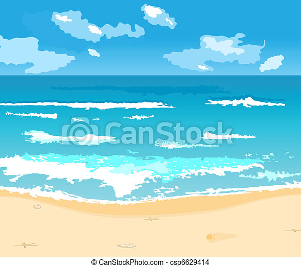 beautiful summer background with beach - csp6629414