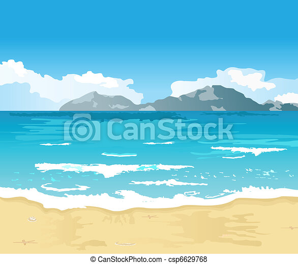 beautiful summer background with beach - csp6629768