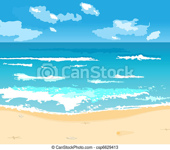 beautiful summer background with beach - csp6629413