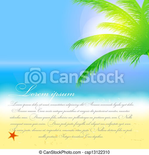 Beautiful summer background with beach, sea, sun and palm tree Vector illustration - csp13122310