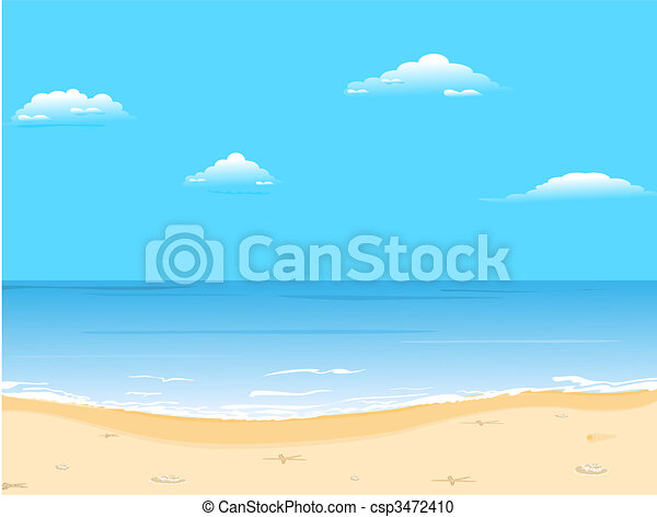 Beautiful summer background with beach - csp3472410