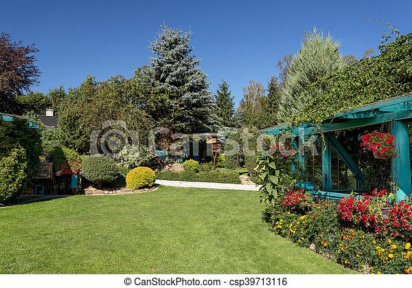 Beautiful Summer Garden Design With Conifer Trees Green Grass