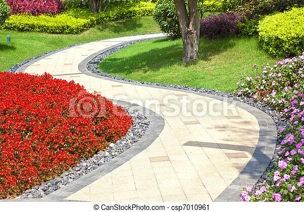 Beautiful summer garden with a walkway winding its way through - csp7010961