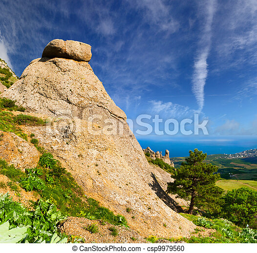 Beautiful summer landscape in the Crimea - csp9979560