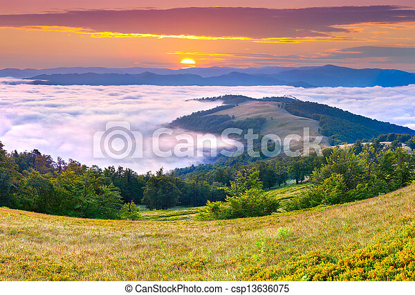 Beautiful summer landscape in the mountains. Sunrise - csp13636075