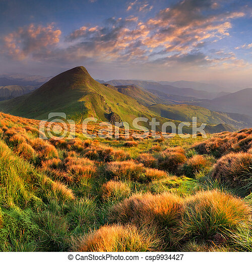 Beautiful summer landscape in the mountains. Sunrise - csp9934427