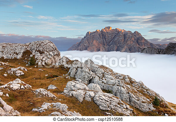 Beautiful summer landscape in the mountains. Sunrise - Italy Dolomites - csp12510588