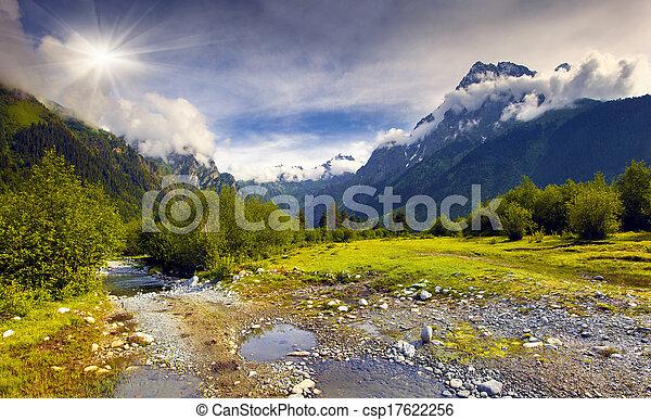 Beautiful summer landscape in the Caucasus mountains - csp17622256