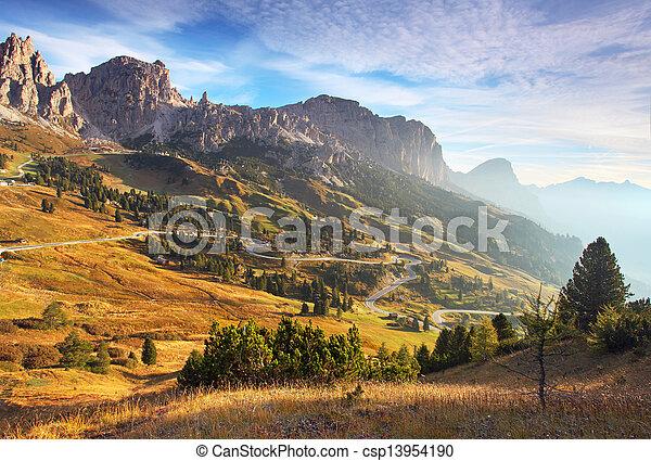 Beautiful summer landscape in the mountains. Sunrise - Italy alp dolomites - csp13954190