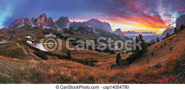 Beautiful summer landscape in the mountains. Sunrise - Italy alp dolomites - csp14054790