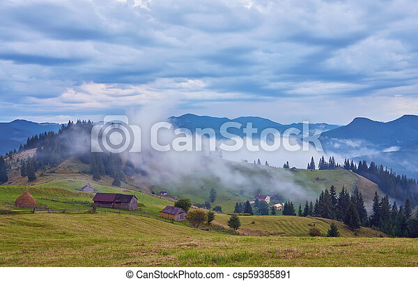Beautiful summer landscape in the mountains. - csp59385891