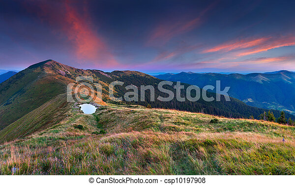 Beautiful summer landscape in the mountains. Sunrise - csp10197908