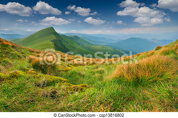 Beautiful summer landscape in the mountains - csp13816802