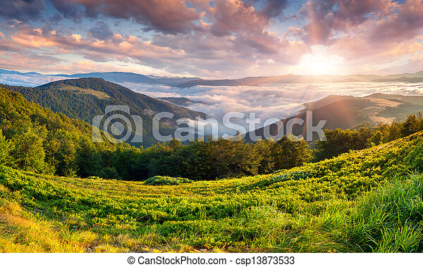 Beautiful summer landscape in the mountains. Sunrise - csp13873533