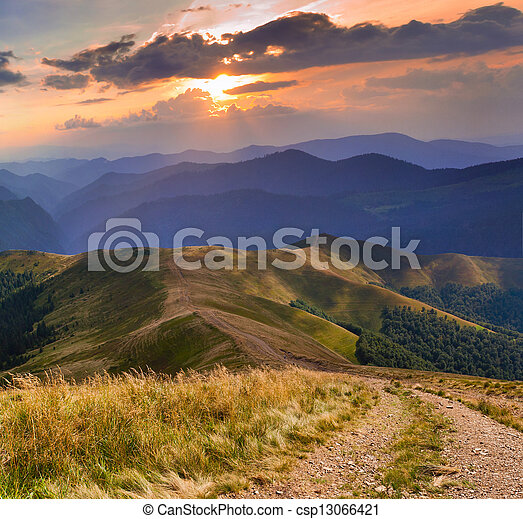 Beautiful summer landscape with road in the mountains - csp13066421