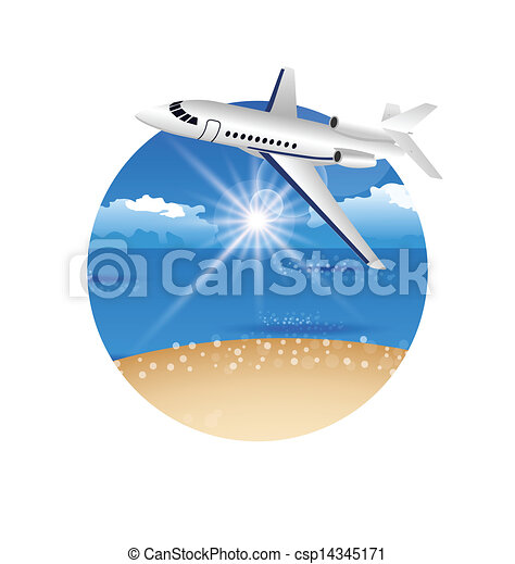 Beautiful summer postcard with beach and plane - csp14345171