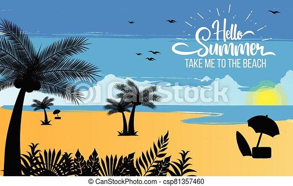 beautiful summer sunset on the beach - csp81357460