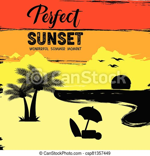 beautiful summer sunset on the beach - csp81357449