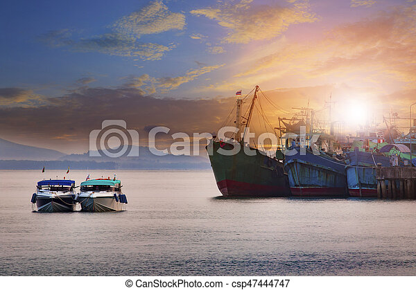 Beautiful Sun Rising Sky Ranong Port Andaman Sea Southern Of