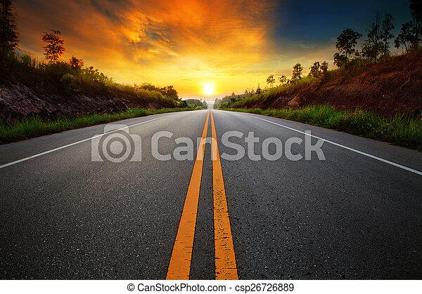 beautiful sun rising sky with asphalt highways road in rural sce - csp26726889