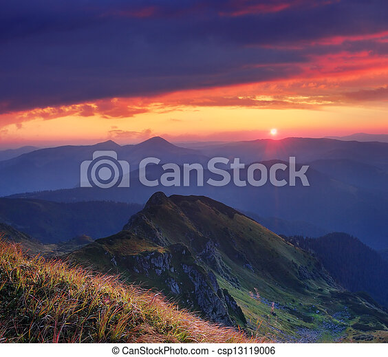 Beautiful sunrise in the mountains - csp13119006