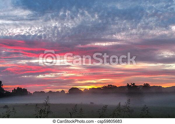 beautiful sunrise over farmland in south carolina - csp59805683