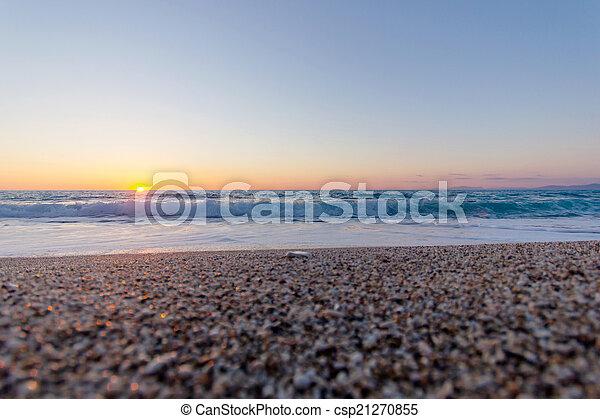 beautiful sunset and beach - csp21270855
