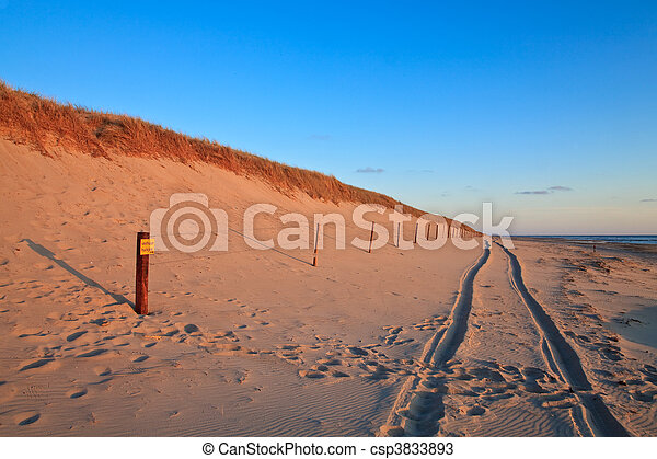 Beautiful sunset at the beach with sand dunes - csp3833893