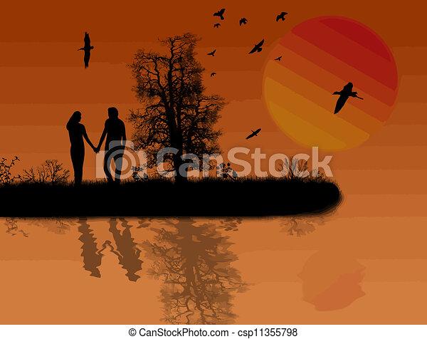 Beautiful sunset background - csp11355798