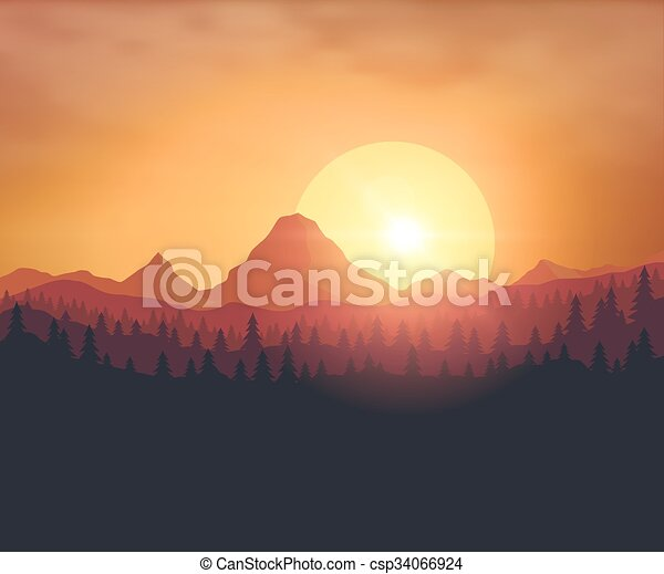 Beautiful sunset background - csp34066924