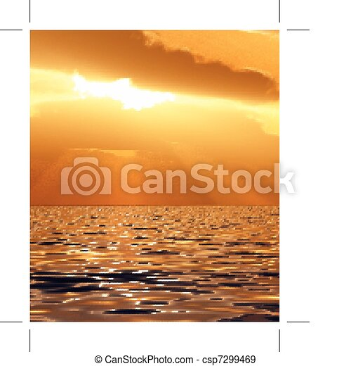 Beautiful sunset illustration - csp7299469