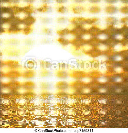 Beautiful sunset illustration - csp7159314
