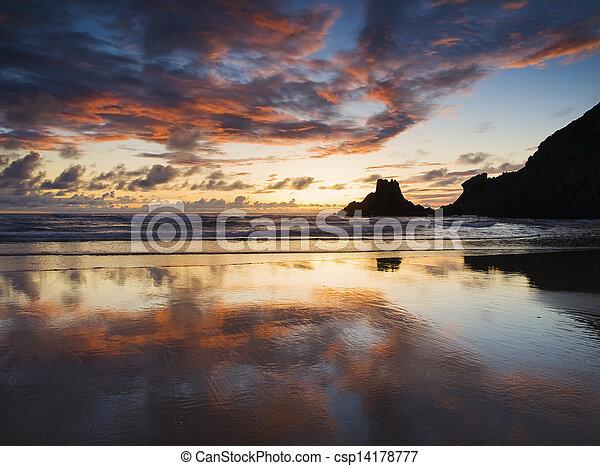 Beautiful sunset in a spanish beach - csp14178777
