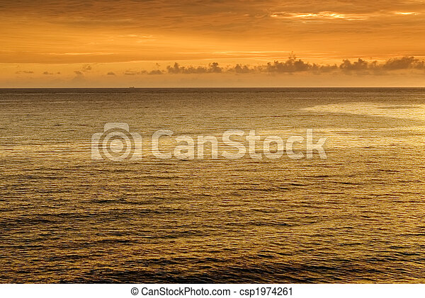 beautiful sunset in the ocean - csp1974261