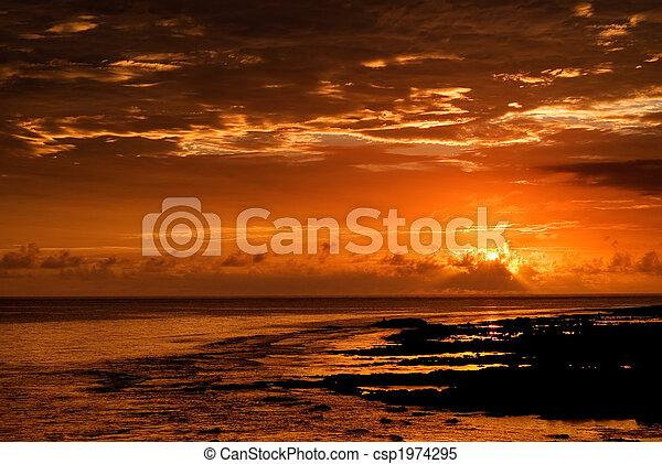 beautiful sunset in the ocean - csp1974295
