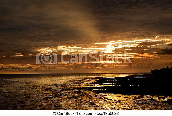 beautiful sunset in the ocean - csp1956022
