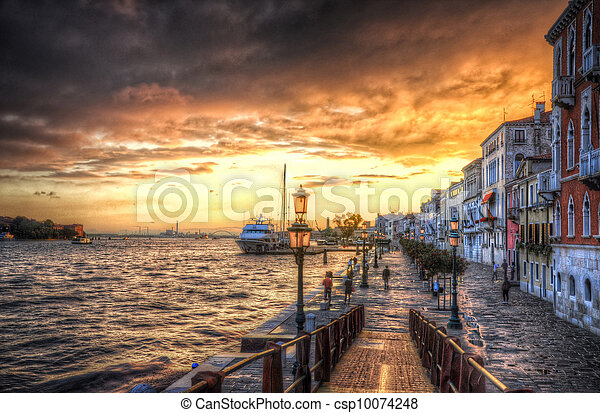 Beautiful sunset in the sea shore of a Mediterranean sea, Venice, Italy (HDR) - csp10074248